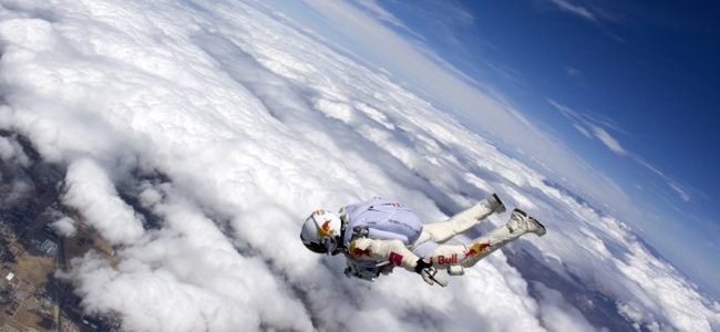 Felix Baumgartner breaking the speed of sound by jumping out of a plane.
