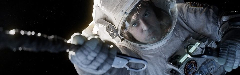 Still of George Clooney playing an astronaut in Gravity.