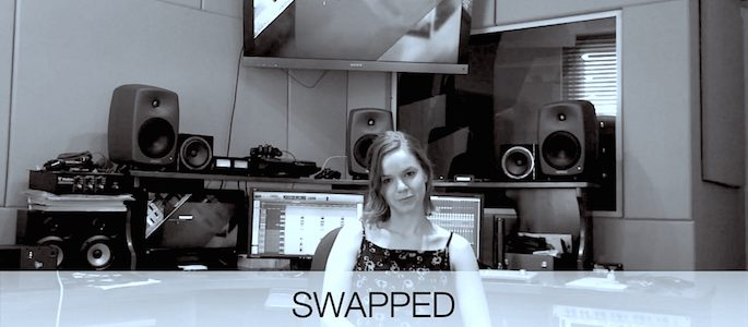 Picture of former Flavorlab audio engineer and studio director, Catherine Anderson, on the behind the scenes of comedy series Swapped.
