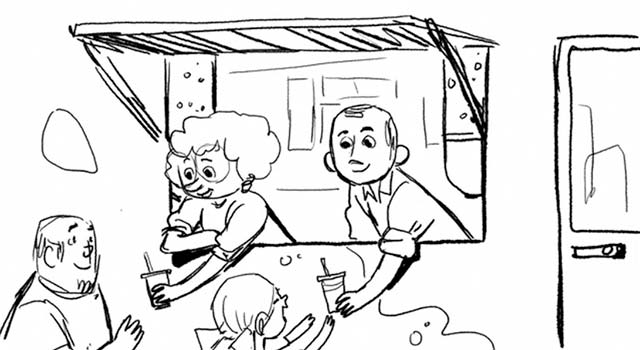 Sketch of characters in Chipotle's short film, A Love Story, handing out juices. Flavorlab provided music supervision for the project.
