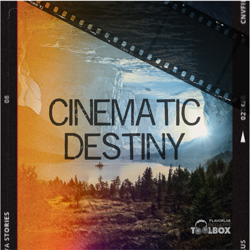 Cover art for Producer's Toolbox playlist, Cinematic Destiny, featuring trailer and fantasy/adventure tracks.