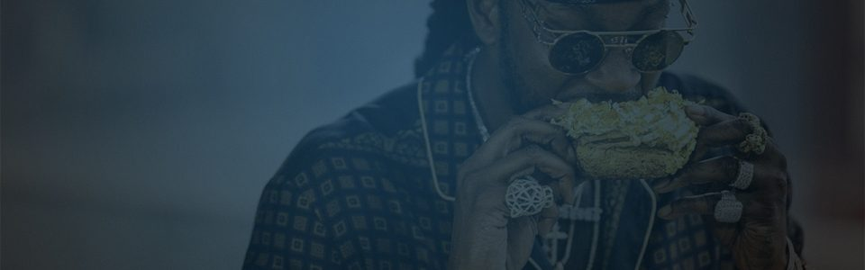 Still of 2 Chainz eating a donut leafed with gold. Flavorlab Score's Dennis Dembeck composed the theme music for the show and Flavorlab Sound provides sound design and mix for the series.