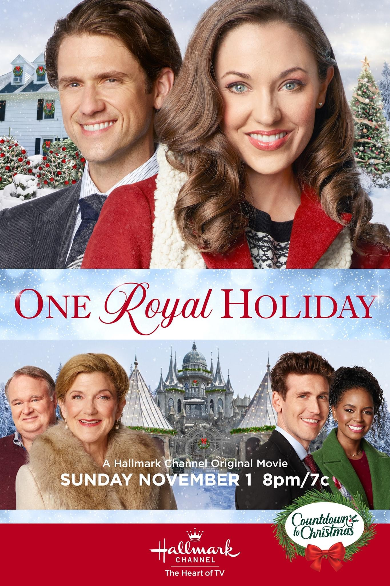 """Movie Poster for Hallmark's One Royal Holiday. The top half of the poster features Laura Osnes in a black and white sweater, red coat, and off-white scarf standing in front of Aaron Tevit in a navy tie, white ribbed shirt, and gray jacket. They are standing in front  of a white house with wreathes in the windows, snow on the ground, and Christmas trees out front. The bottom half features Victoria Clark, Tom McGowan, Krystal Joy Brown, and Bradley Rose in wool coats, standing in front of a castle. In the middle are the words """"One Royal Holiday"""" and in the bottom right hand corner a plain wreath with a red bow surrounds the words """"Countdown to Christmas."""" Flavorlab Sound provided full service audio post production for the film."""