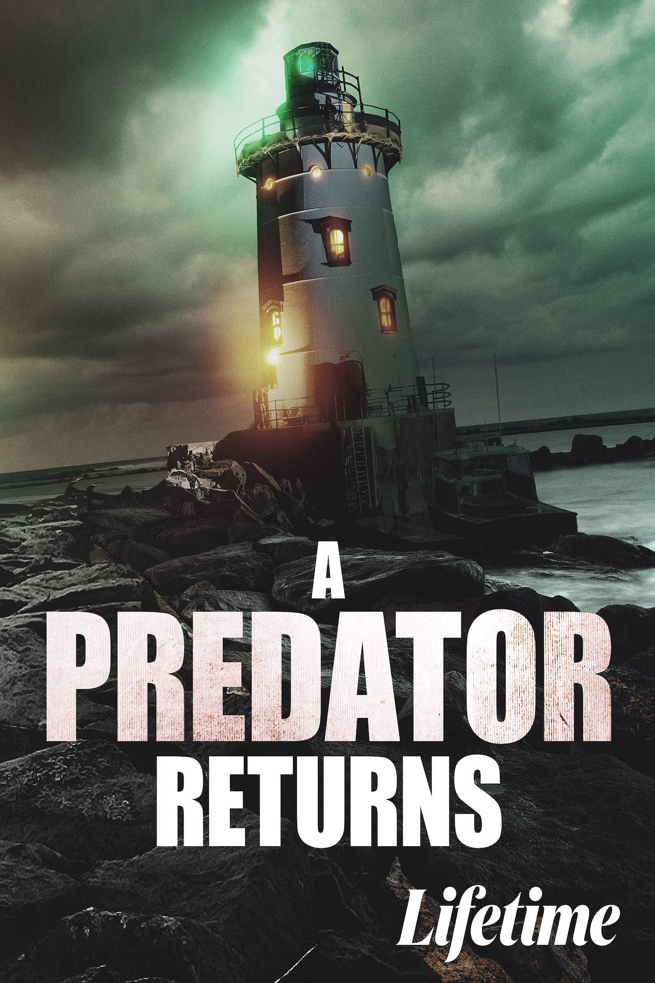 """Poster for Lifetime original movie, A Predator Returns, also known as Stalker's Prey 3, released May 22nd, 2021. The image features a short, grey lighthouse perched on a rocky shore at sea level. In the background, the sky is cloudy and green as a storm approaches at dusk. The image is overlaid with the words """"A PREDATOR RETURNS"""" and """"Lifetime."""" Flavorlab Sound provided full service audio post production for the series."""