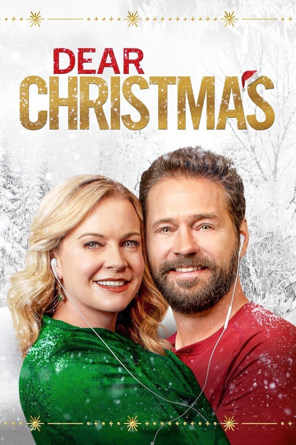 """Movie poster for Lifetime's Dear Christmas, released November 27th, 2020. The poster features Melissa Joan Hart in a green sweater hugging Jason Priestley, wearing a red sweater. They each have one Apple ear but in their ear with the cord meeting between their embrace. They're standing in front of a snow covered forest and the image is overlaid with the words """"Dear CHRISTMAS."""" Flavorlab Sound provided full service audio post production for the film."""