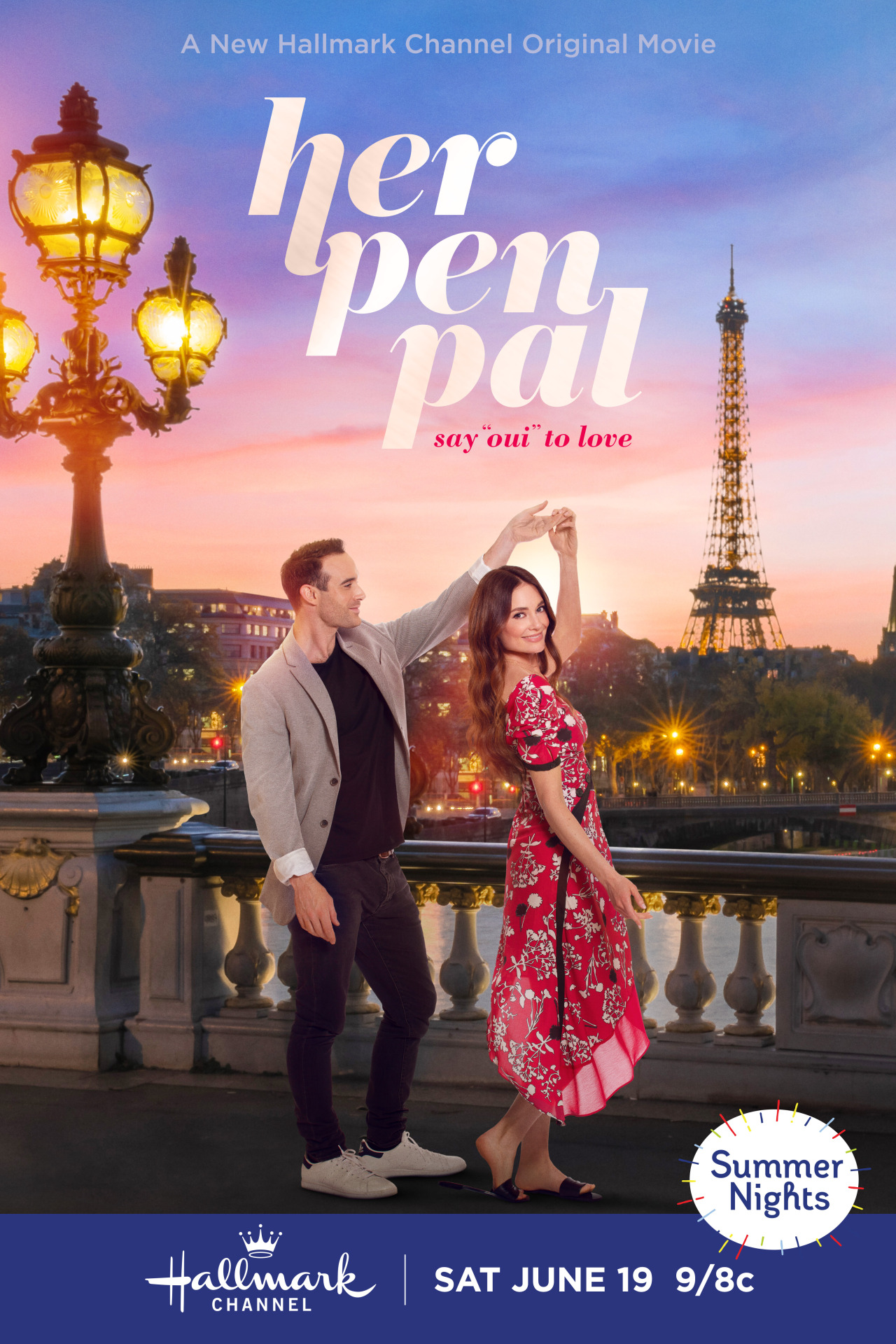 """Poster for Hallmark film Her Pen Pal released Juny 19th, 2021. The poster features Mallory Jansen in a red dress with a white and black floral pattern being twirled by Joshua Sasse, wearing a black shirt, tan blazer, black jeans, and white sneakers. They are dancing on a bridge in front of a backdrop of Paris at sunset with the Eiffle Tower in the background to the right and a lantern on the bridge in the foreground to the left. The image is overlaid with the title """"her pen pal"""" with the subtitle """"say 'oui' to love."""" In the bottom right hand corner, there is a white oval with multi-colored lines shooting out of it that say """"Summer Nights."""" Flavorlab Sound provided full service audio post production for the film."""