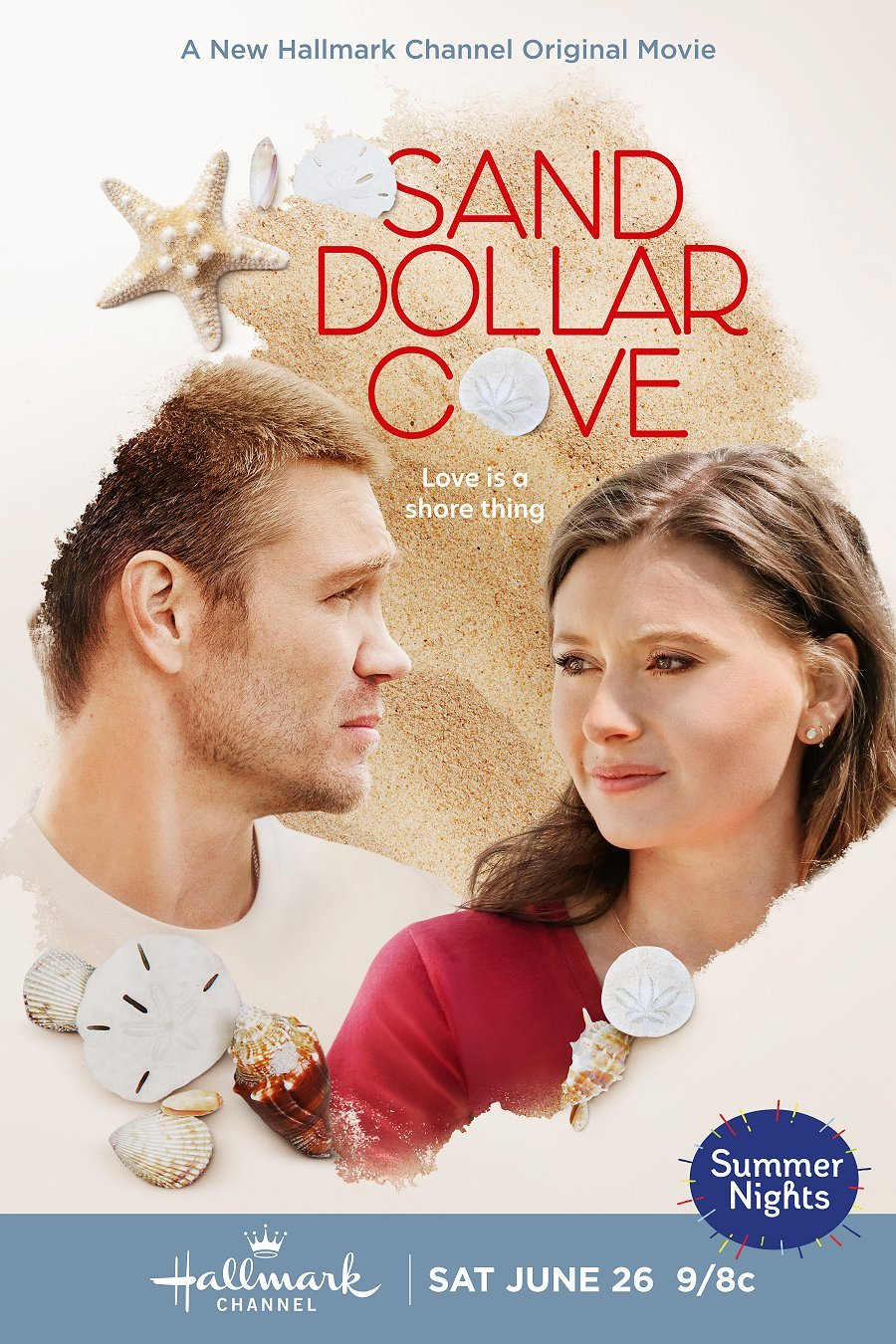 """Poster for Hallmark movie Sand Dollar Cove released June 26th, 2021. The image features Chad Michael Murray in a white shirt & Aly Michalka in a red shirt looking towards but not at each other over a sand back ground embellished with sand dollars and other shells overlaid with the title """"SAND DOLLAR COVE"""" with sand dollars replacing the O. The subtitle is """"Love is a shore thing"""" and a blue oval with multicolored lines popping out of it says """"Summer Nights"""" in the right bottom corner. Flavorlab Sound provided full service audio post for the film."""