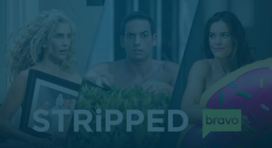Still of three contestants covering their naked bodies with random objects on Bravo's Stripped. Producer's Toolbox provided blanket music licensing for the series.