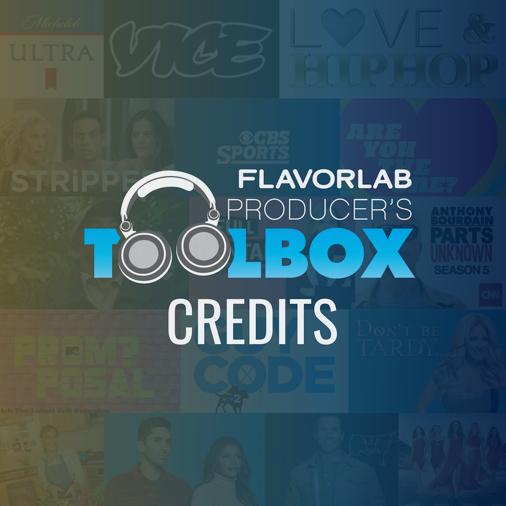 Logo for Flavorlab's Producer's Toolbox over a background of various shows and brands the music licensing company has worked with. This page details which brands and show the music licensing library has worked with.