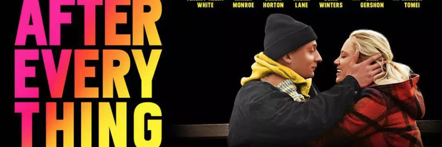 Banner for Yale Productions film After Everything. A young man with terminal cancer holds his girlfriend's head in his hands as they smile at each other. Flavorlab Sound provided sound design and mix for the feature.