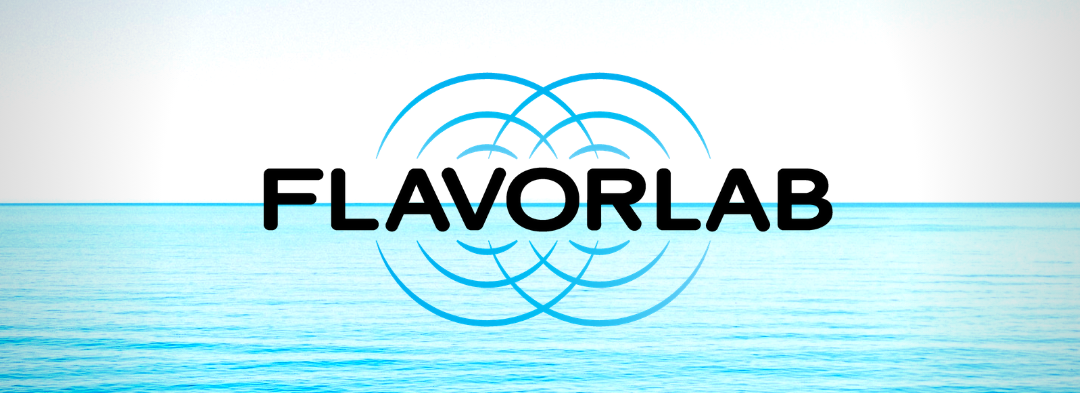 Flavorlab logo over an ocean horizon - June 2020 edition of Flavorlab Tastes is available on Spotify!