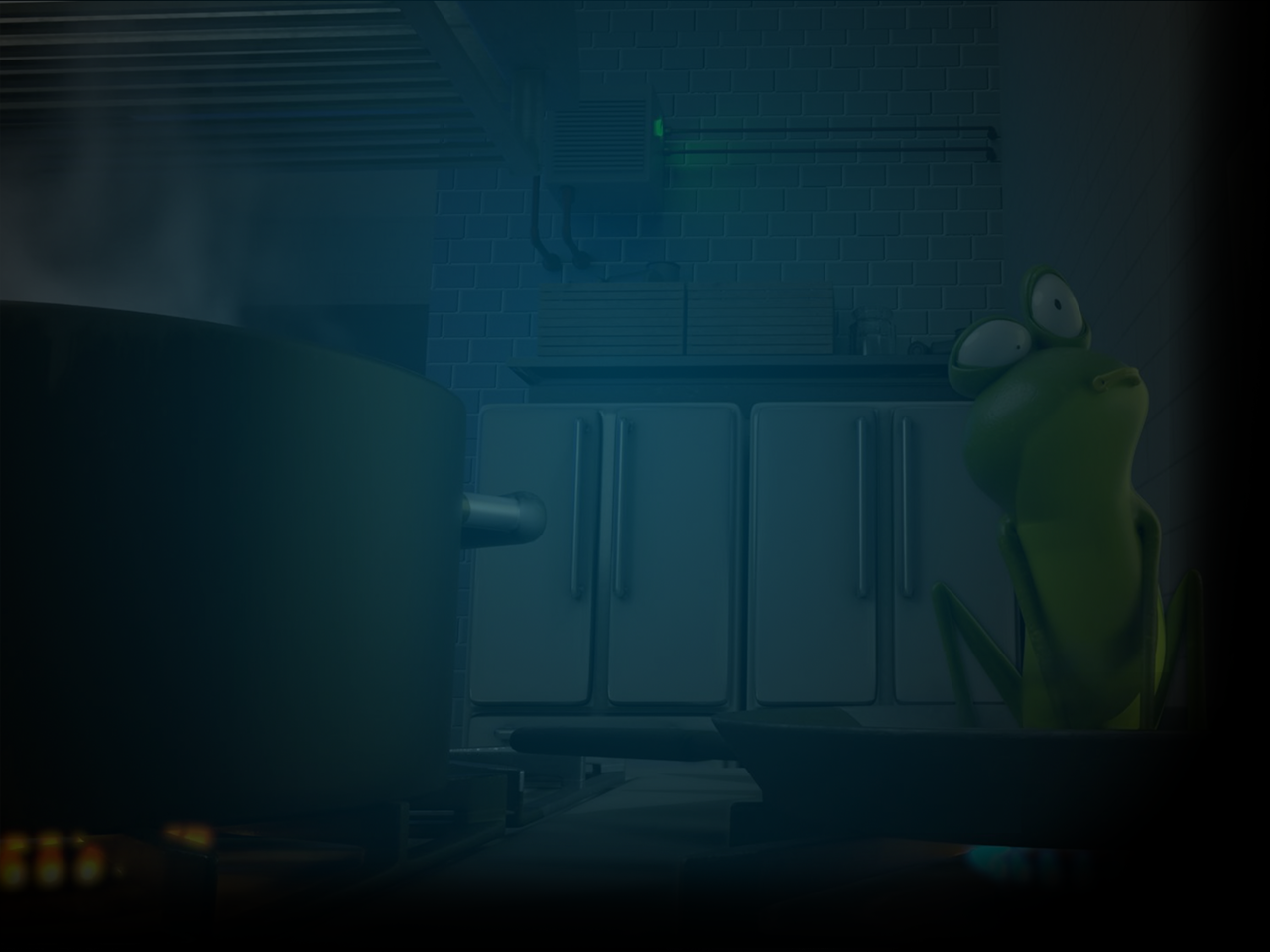Shot of frog realizing the hot pan he's sitting in is burning him in animated short, Frog Legs.
