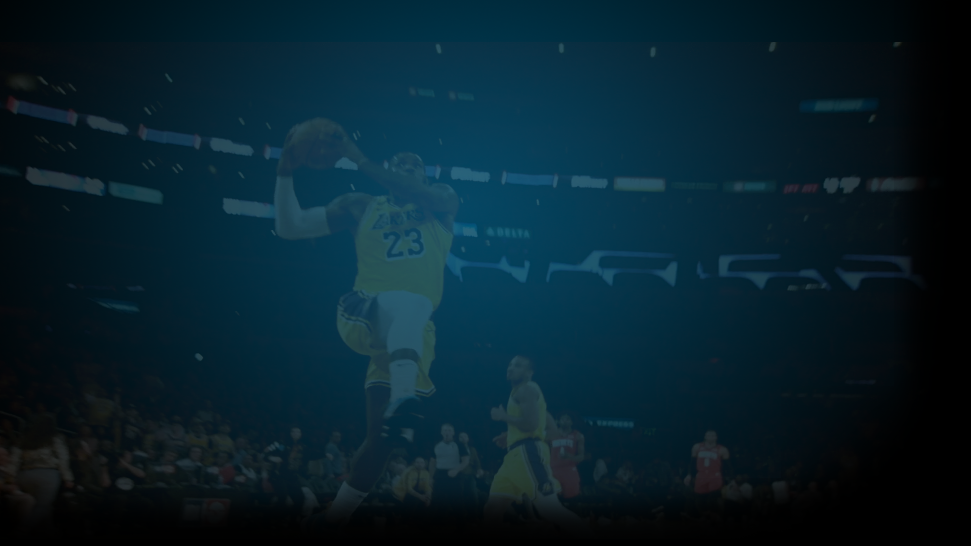 Still of Lebron James jumping to dunk a basketball featured in the NBA's 2020 Restart promo. Flavorlab Score's Glenn Schloss composed the original music for the spot and Flavorlab Sound's Brian Quill provided editing, sound design, and mix to the spot.