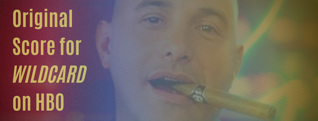 "Close up shot of Craig Carton's face with a cigar in his mouth overlaid with yellow, blue, and red and the words ""Original Score for Wildcard on HBO."" Flavorlab Score composed the original soundtrack for documentary ""Wildcard: The Downfall of a Radio Loudmouth"" on HBO."
